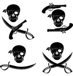 set of pirates skulls stencils vector image