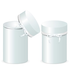 Set of two cylindrical gift boxes with a bow vector image