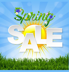 Spring sale banner with sun vector