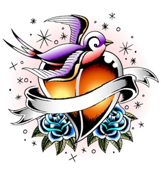 swallow with rose and heart vector image vector image