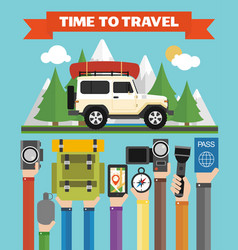 time to travel modern flat design with jeepsummer vector image vector image
