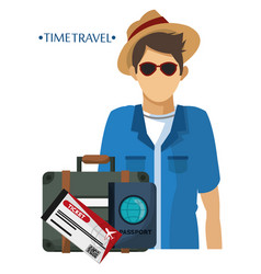 time travel man tourist equipment vacation vector image