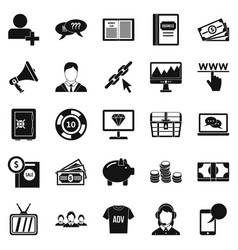 Viral video icons set simple style vector