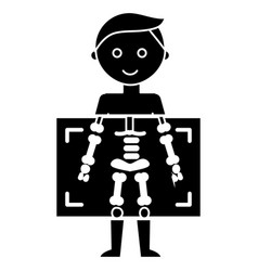 X ray - medical diagnostics man icon vector