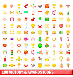 100 victory and awards icons set cartoon style vector
