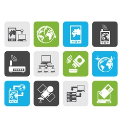 Flat communication computer and mobile phone vector image