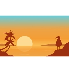 Bird on the seaside scenery silhouettes vector