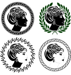 Set of roman woman profiles vector
