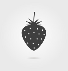 black strawberries icon with shadow vector image