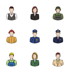 Professional work icons set cartoon style vector