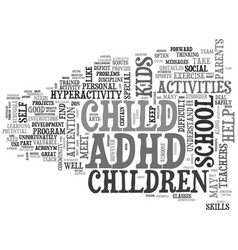 Adhd after school text word cloud concept vector