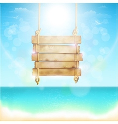 Blank Wooden Sign On a Beach vector image