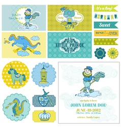 Baby shower little prince boy set vector