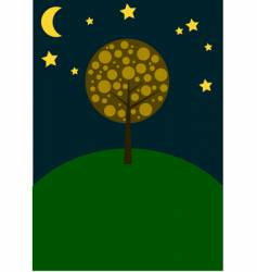 Autumn tree at night vector