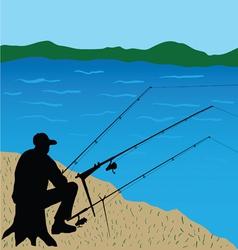 Fisherman on the stump vector image