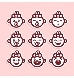 Cute Baby Girl Icons vector image