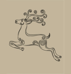 Deer jumping vector