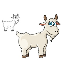 Cartoon horned farm goat vector