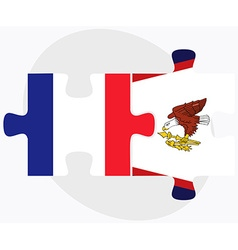France and american samoa flags vector
