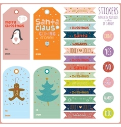 Vintage Christmas and New Year greeting stickers vector image