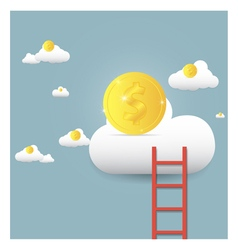 Stairs leading to gold coin on clouds vector