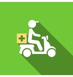 Drugs motorbike delivery flat long shadow square vector