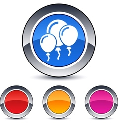 Balloons round button vector
