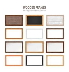 Wooden rectangle banners set vector
