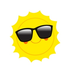 Character sun in sunglasses and happy smile vector