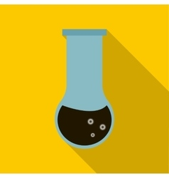 Chemical test tube with oil icon flat style vector
