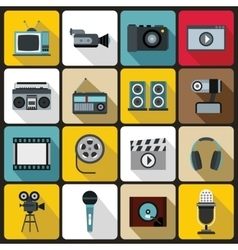 Audio and video set flat style vector