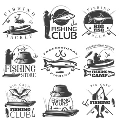 Fishing emblem set vector