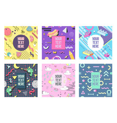 abstract memphis geometric shapes placards vector image vector image