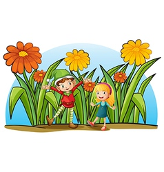 An elf and a young girl vector image vector image