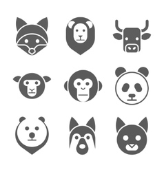Animal face set vector image