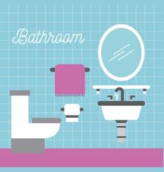 bathroom sink toilet towel paper and mirror vector image