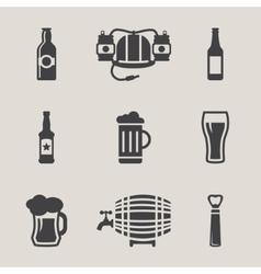 Beer icons set bottle glass vector