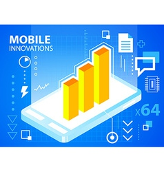 bright manual book and bar chart on blue bac vector image vector image