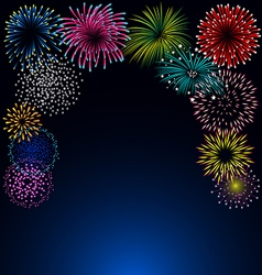 Colorful fireworks on blue background vector image vector image