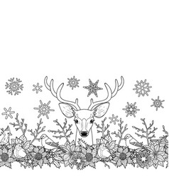 deer and birds outline seamless border vector image vector image