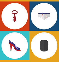 Flat icon garment set of heeled shoe stylish vector