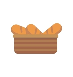 French bread in basket vector