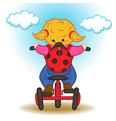 girl with backpack in form of ladybug rides vector image vector image