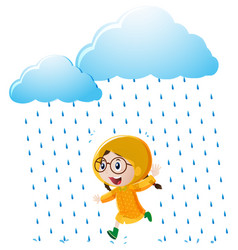 Girl with yellow raincoat running in the rain vector