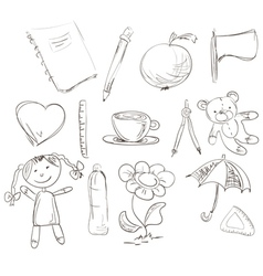 hand drawn design elements vector image vector image