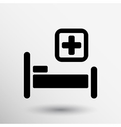 Hospital bed and cross icon doctor health care vector