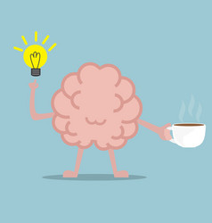 Human brain drinking coffee for fresh idea vector