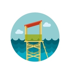 Lifeguard tower flat icon vector