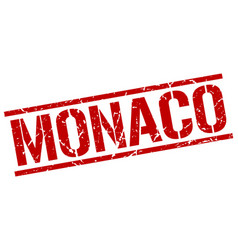 Monaco red square stamp vector