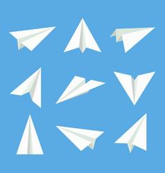 paper plane set vector image vector image